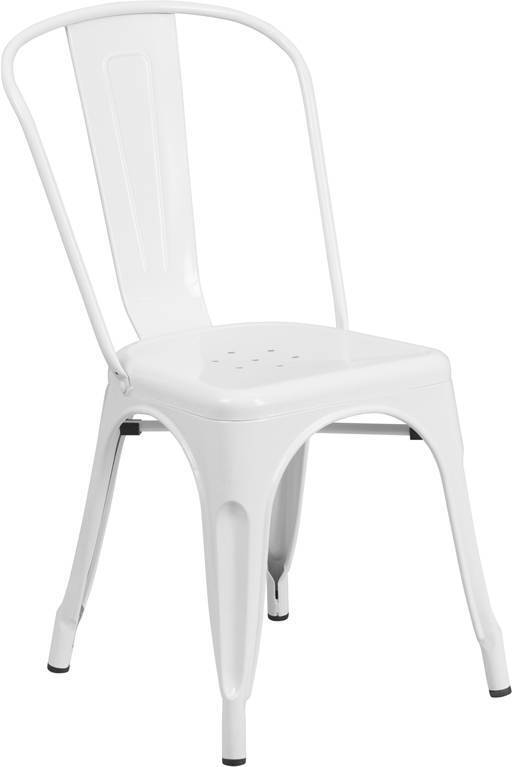 White Metal Indoor-outdoor Restaurant Dining Chair