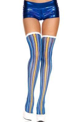 Music Legs 4858 Blue Zig Zag Thigh Highs Stockings Socks Costume Rave EDC - Costume Stockings