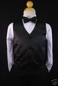 New Satin Vest + Bow Tie set 4 Baby,Toddler & Boy Formal Tuxedo Suit S M L XL-22