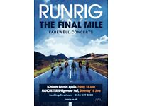 1 x RUNRIG ticket MANCHESTER 2018 circle row c FINAL ENGLISH SHOW EVER!
