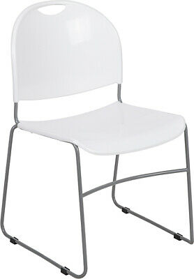 Heavy Duty White Stack Office Chair With Sled Metal Base - Waiting Room Chair