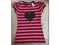 Next red/black heart T-shirt size 8
