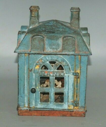 "ANTIQUE J.&E. STEVENS CAST IRON MECHANICAL ""NOVELTY BANK"" TOY COIN BANK"