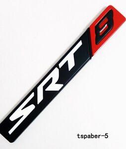 SRT8 Badge Metal Black&Red SRT 8 Emblem Rear Trunk Decal Fender Side Sticker