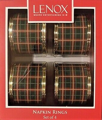 Lenox Holiday Nouveau Plaid Napkin Rings ~Set of 4~ (Holiday Must Have)  - Lenox Set Ring