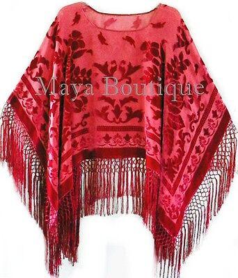Silk Burnout Velvet Poncho Top Fringe Piano Shawl Wrap True Red Maya Matazaro - Burnout Wrap Top