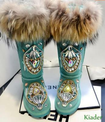 Winter Snow Decorations (Women's Winter Thick Warm Snow Boots Real Leather Fox Fur Rhinestone Decor)