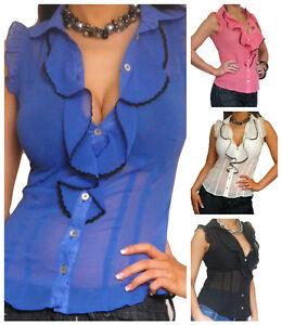 Blouse-Ladies-Shirt-Tops-Chiffon-Long-Sexy-Womens-Top-Size-8-10-12-14-16-18-20