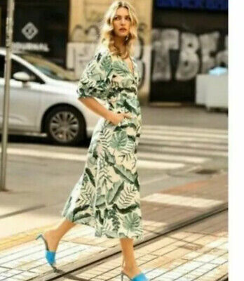 LAST ONE Johanna Ortiz x H&M Palm Leaf Print Linen Dress Size XS