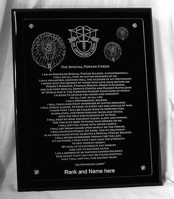 """Special Forces"" w/ The SF Creed Personalized Plaque  By Solovey Art"