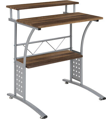 Computer Desk Or Lap Top Desk With Walnut Laminated Top Lower Storage Shelves