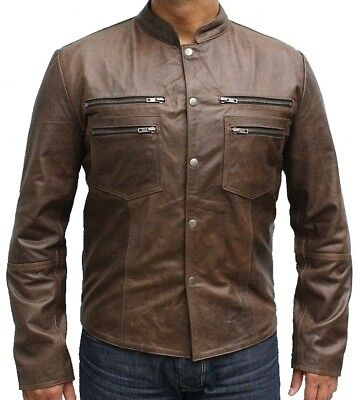 - Mens Fashion Distressed Brown Leather jacket With Four Zipped Chest Pockets