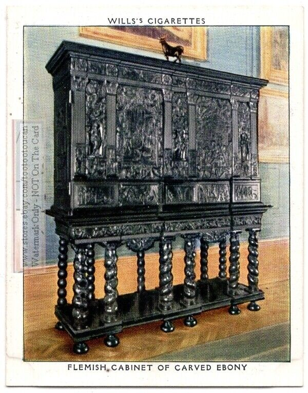1700s Carved Flemish Ebony Cabinet England Funtiture 1930s Trade Card