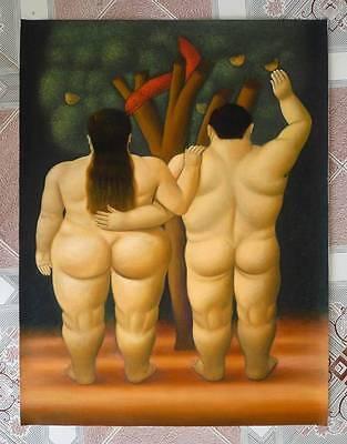 Ölbilder Ölgemälde Gemälde Botero: Adam and Eve 60x80cm