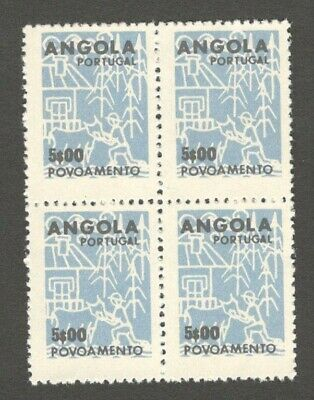 Angola 1962 Povoamento = Settlement Tax revenue 5$00 block of 4 MNH. Barata #25