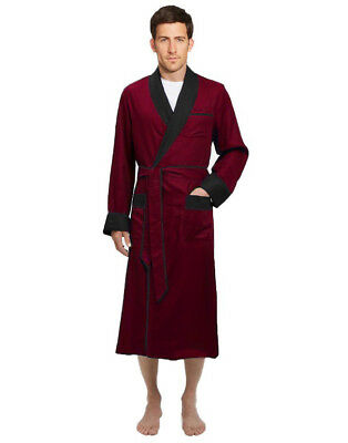 Mens Long Silk Satin Robe - Fully lined Heavy weight - Burgundy / Black (Satin Men Robe)
