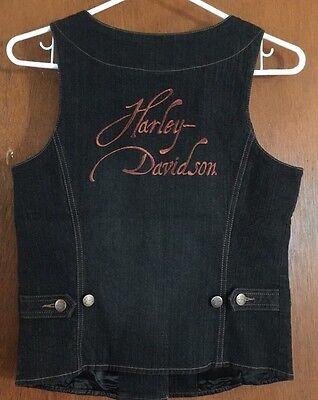 Harley Davidson Womens S JEAN VEST W/SPARKLEY COPPER EMBROIDERED LOGO-NWOT-