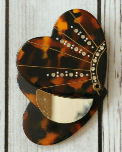 Antique small folding mirror rhinestone turtle tortoise shell heart vintage