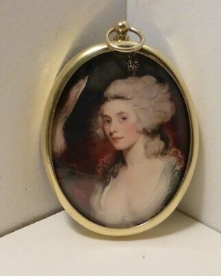 Miniature of Perdita Robinson (mistress of George IV) in an oval brass frame
