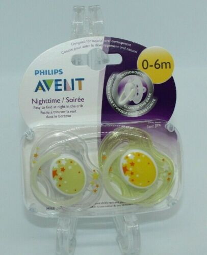 New Philips Avent Nighttime Pacifiers 0-6M Glows in The Dark SCF176/18 Yellow