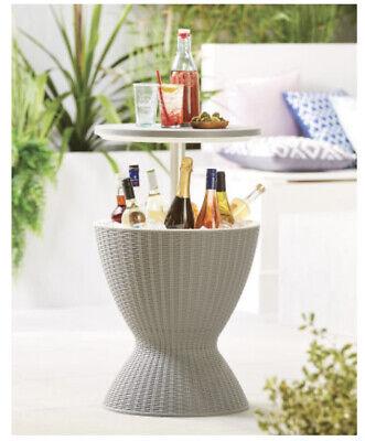 rattan ice bucket table