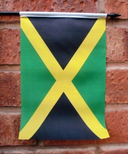 """JAMAICA Medium HAND WAVING FLAG 9"""" X 6"""" with 10"""" pole JAMAICAN CARIBBEAN"""