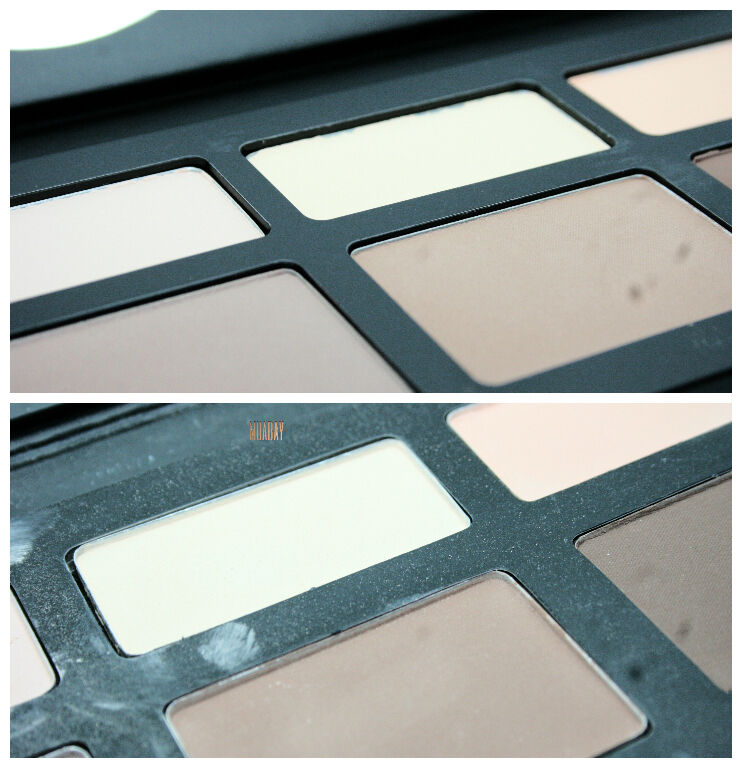Fake palette has not straight pans that are showing its edges from the frame, shades are low pigmented and textured!