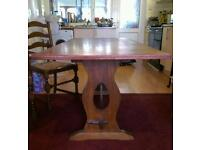 Antique Oak dining table and ladder back chairs