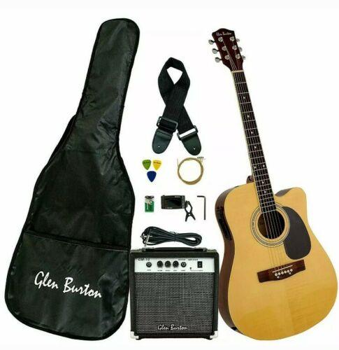 Glen Burton Acoustic Electric Cutaway Guitar Natural Guitar