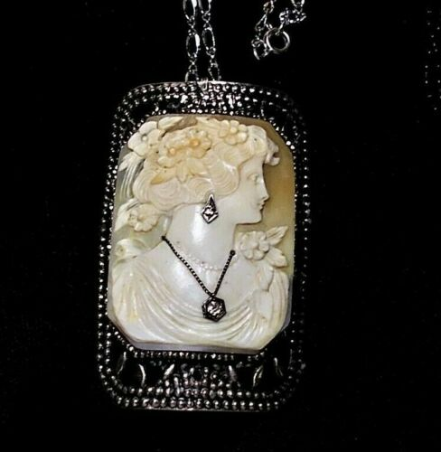 Cameo Habille Wearing 2 Diamonds in Necklace Earrings Vintage Steel Setting