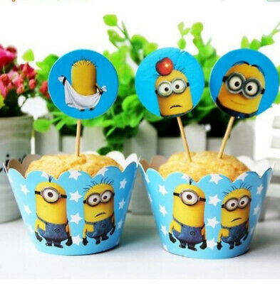 24 Piece Minions Cupcake 12 Wrappers and 12 toppers - Cupcake Minions