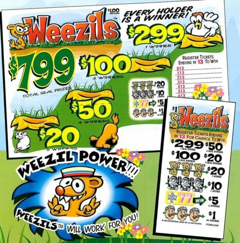 "NEW- Pull Tab Ticket ""WEEZILS"" 1200ct-  FREE SHIPPING"