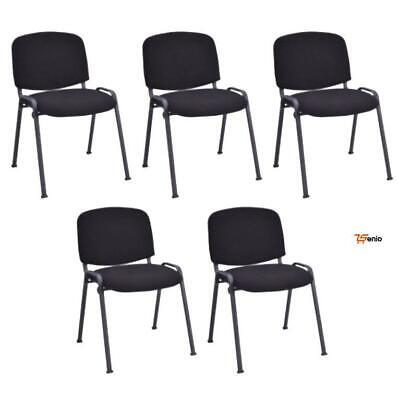 Black Chairs Set 5 Heavy Duty Stackable Conference Padded Waiting Room- Rsenio