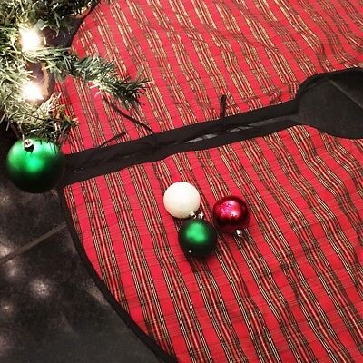 Christmas Tree Skirt TARTAN Holiday Plaid Red Black Gold 54