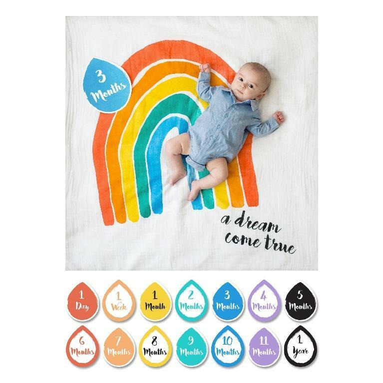 Lulujo Baby First Year Milestone Blanket and Card Set, A Dream Come True Rainbow