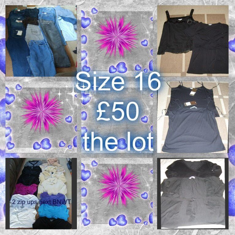 ladies clothes size 16 (inc 2 new zip ups from next, and new jeans)£50 the lot