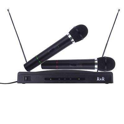 Profesional Sistema De Micrófono Inalámbrico Dual Manual+2 x Micro Receptor