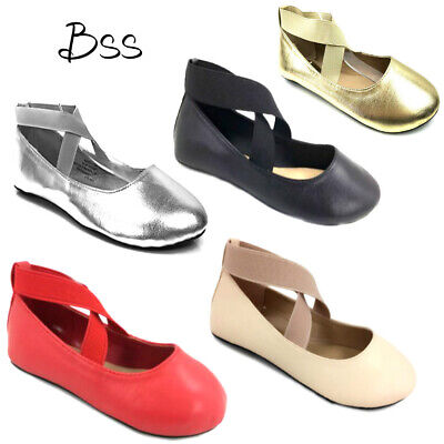 Toddler Girls Ballet Flat Cross Strap Shoes Size 4-10 New