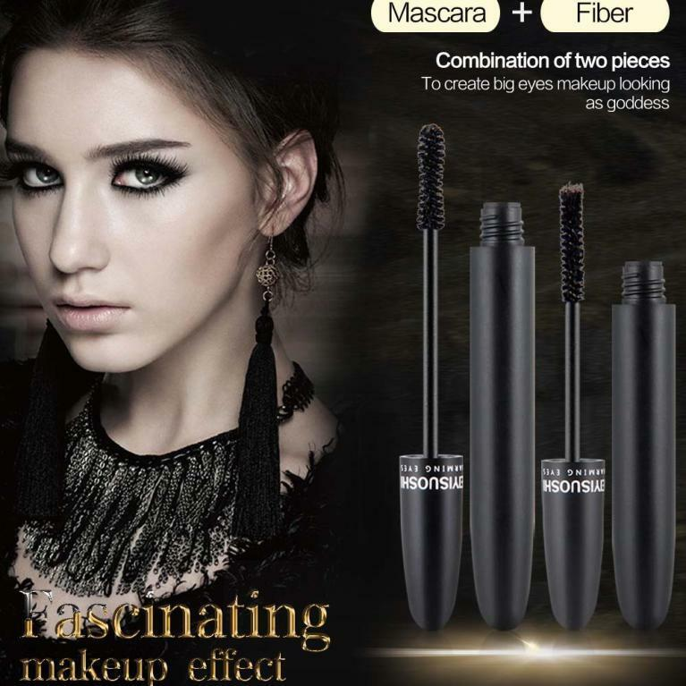 1 Set  Solid 3D Mascara Fiber Density Waterproof Makeup Eyelash Long Curling