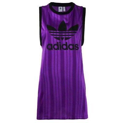 Adidas Longline Tank Top Trefoil Graphic Womens Vest Purple DV0136