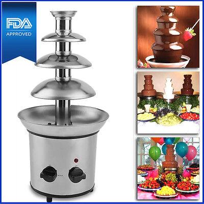 (4 Tier Fondue Chocolate Fountain Maker Electric Set Pot Machine Stainless Steel)