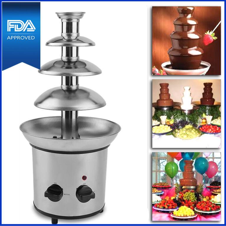 $45.93 - 4 Tier Fondue Chocolate Fountain Maker Electric Set Pot Machine Stainless Steel