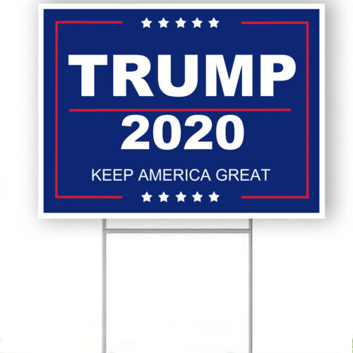 "Trump 2020 keep America great 18""x24"" yard sign with stake"