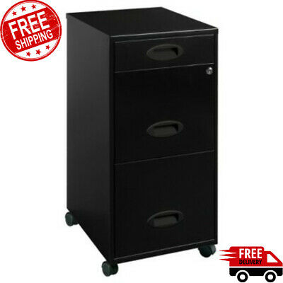 Metal File Cabinet 3 Drawer Locking Vertical Office Furniture Filing Rolling
