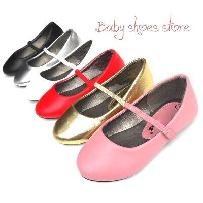 Toddler kids girls ballet flat slip on shoes 4-9 new
