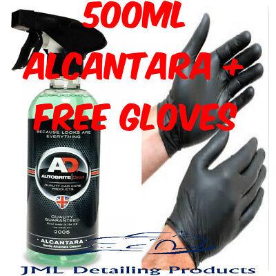 AUTOBRITE DIRECT 500ML ALCANTARA GENTLE SUEDE CAR SEAT SURFACE CLEANER+GLOVES
