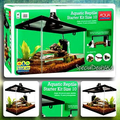 Reptile Habitat Setup Aquarium Tank Kit Filter Screen Lid Bask Lamp Frog Turtle