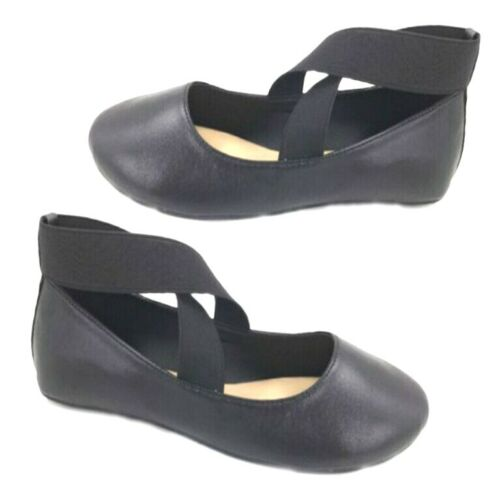 Big Kids Girls Ballet Flat Cross Strap Black Shoes Size 12 New