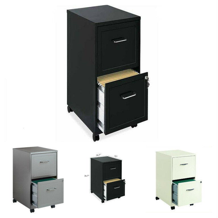 Details About 2 Drawer Metal File Cabinet Mobile W Two Locking Drawers Ideal For Small Office