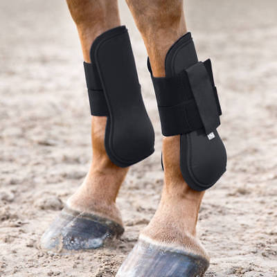 Horze Black Open Front Jumping Exercise Turnout Tendon Boots Pony Cob Horse Open Front Horse Jumping Boots
